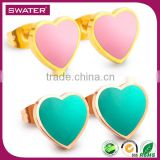 Best Selling Pink And Green Heart Studs Happy Back Earring Backs