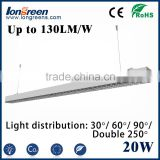 Led linear light fixture 2ft 0.6m 20W Indoor suspending surface mounted LED Batten light tube/ flat led linear