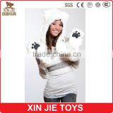 Animal Plush head Hat With Long Scarf Gloves Paws