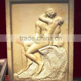 Naked man woman wall relief sculpture marble stone hand carved for decoration from Vietnam