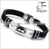 New Fashion Stainless Steel Plated Bracelet Special Shape Genuine Silicone Korea Style Unisex Bangles                                                                         Quality Choice