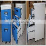 Movable small 3 drawers metal filing cabinet with wheels