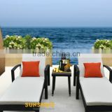 Black rattan beach poolside chairs lounger