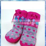 heart fairisle knitted baby sock shoes with rubber sole