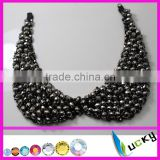 factory directly100% handmade patch rhinstones beaded collar woman coat Tshirt necklace roundles beads applique accessories