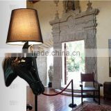 Art Contemporary Classic Resin Horse Head Black restaurant fabric lamp shade Wall Lighting