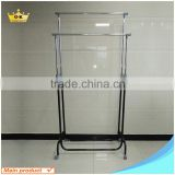 Double Adjustable Garment Display Chrome Rack Telescopic Stand Clothes Drying Black Rail Manufacturer