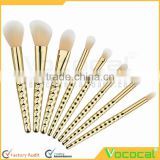8 PCS Makeup Cosmetic Brush Kit Foundation Eyebrow Powder Blush Outline Nasal Blending Brush Set Gold