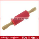 Bakeware Accessories Pastry Tools Silicone Rolling Pin with Wooden Handle kids rolling pin