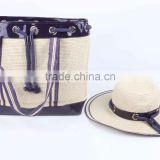 2015 new style summer women paper straw hat and shoulder bag set
