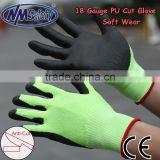 NMSAFETY 18 gauge cut proof gloves/cut resistant gloves/pu anti cut safety glove /cut level 5 glove