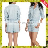 New fashion women's drawcord rompers jumpsuits long sleeves denim jeans