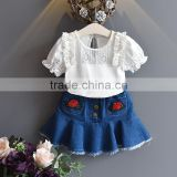 Baby Cothes Sets Summer Bamboo Shirt And Embroidery Denim skirt Clothing M7041802