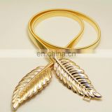 Women's Elastic Belt Decoration Waist Chain Alloy Leaves