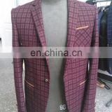 Men's Burgundy Check Classic Fashion Suits Business Suits Tuxedo Blazer Classic Suit Slim fit Formal Suit