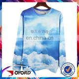 Wholesale 3d printing blue sky dry fit orange sport t shirt