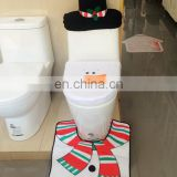 Christmas Decoration Santa Snowman Toilet Seat Cover & Rug Bathroom Set 3