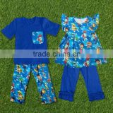 Casual boys and girls summer clothing sets custom printing clothes outfits flutter children outfits