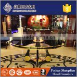 hotel entrance hall furniture /wooden gold leaf with black painting flower table JD-HT-012