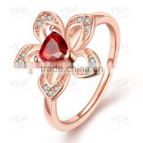 LKN18KRGPR734 18K Real Gold Plated Ruby Diamond Ring