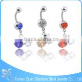 Hot promotional women cute curved barbell crystal nickel free indian navel piercing