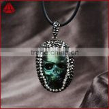 Natural labradorite gem stone carving skull, skull heads, rock skull pendant paved with diamond