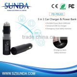 Sunda Private mould design 2 in 1 USB car charger and power bank                                                                                                         Supplier's Choice