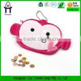 Fighting monkey coin purse, cute animal coin pouch; plush coin purse with metal ball chain