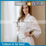 2015 New Waffle Cotton Fabric Female hotel Bathrobe Soft Women Nightgown Hotel Bathrobes