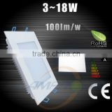 3w 6w 12W 18w dimmable LED Recessed ultra thin Ceiling Panel Light Square Downlight Lamp