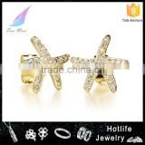 online shopping from China factory price 18L gold plated jewelry gold star earring with zircon