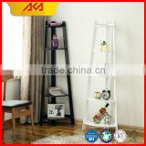 Decorative Home Furniture Wood Corner Storage Shelf 4 Tier Wood Leaning Ladder Shelf