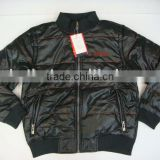 men's black leather padded jacket stock
