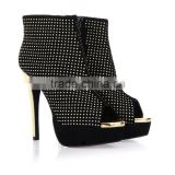 fashion pretty 2016 black leather rivets women open-toed high heel boots