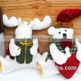 hot sell hot sell 2014 Christmas ornament Merry Christmas Teddy Bear Plush Sitting With Heart deer christmas cloth gift
