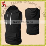 black fitness black blank sleeveless sweat hoody for men                                                                         Quality Choice