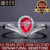 MBH jewellery factory luxury gemstone rings 18k gold inlay diamond natural red ruby precious stone ring for lady turkish jewelry