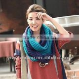 Double color contrast color collar scarf knit pattern