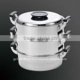 18/0 Induction Steamer Pot 3 Level 27cm Round