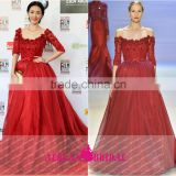 BF4 half sleeve off the shoulder A-line puffy beaded red vestidos para festa