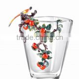 RORO Blessed Events persimmon enamel crystal glass decorative vase flower receptacle