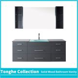 60'' Gray Bath Vanity Unit Glass Vessel Sink With Mirror Cabinet