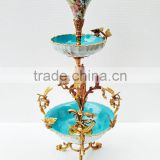 Floral Painting Multilayer Porcelain Fruit Bowl With Bronze Angel Support, Blue & White Porcelain With Brass Compote