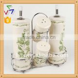 4PCS ceramic salt & oil vinegar bottle with metal stand,ceramic spice jar,ceramic cruet set,ceramic caster set