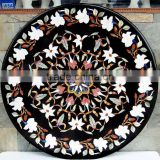 Marble Stone Inlaid Round Shape Coffee Table Top, Tabletop Exporter Marble Inlay Table Top