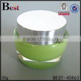 luxury acrylic cosmetic cream jar 15g 30g 50g transparent plastic cosmetic cream jar with aluminum silver color cap