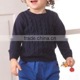 2017 latest design crew neck long sleeve kids cable knitted sweater
