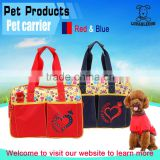 China wholesale pet carrier with heart shape printing Hot fix rhinestone hand bag,Red and Blue portable Dog Carrier