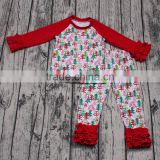In stock wholesale baby girls outfits Christmas tree print clothing set 2pcs long sleeve Xmas party wear clothing pajama set new