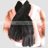 Hand Knitted Real Mink Fur Scarf black color
